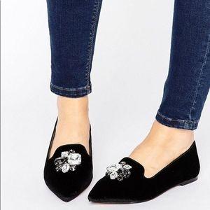 🌟EUC🌟 ASOS Embellished Black Velvet Loafers